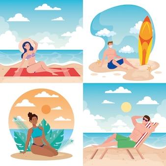 Scene, persone con costume da bagno in spiaggia, stagione estiva