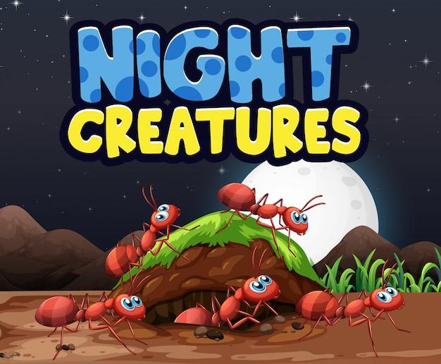 Scenografia di sfondo per creature notturne di parole con le formiche sul terreno
