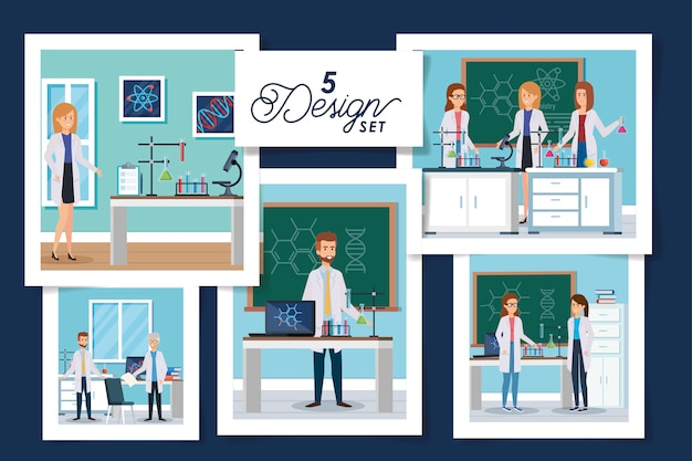 Scenografie scenografiche di laboratorio con gruppo scientifico