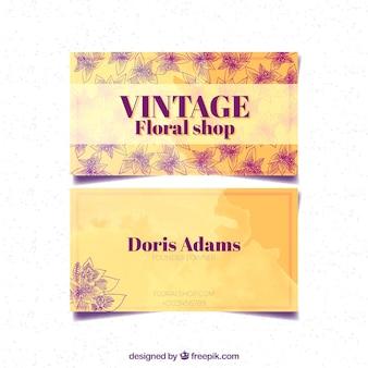 Scheda acquerello vintage e schizzi fiore