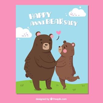 Scheda anniversario carino con gli orsi
