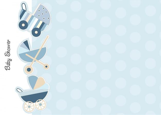 Scheda annuncio baby shower con passeggini