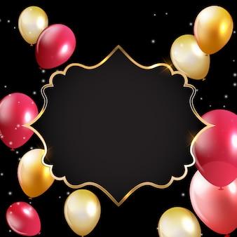 Scheda astratta con cornice dorata e palloncini