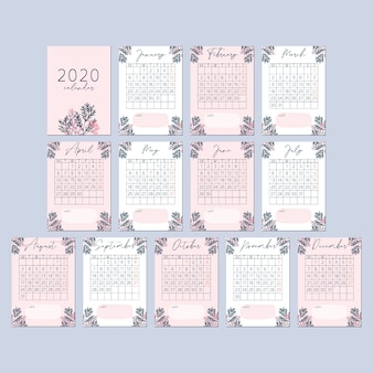 Scheda calendario fiore rosa pesca 2020