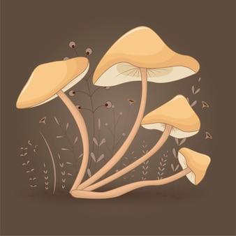 Scheda con agarico miele di funghi su uno sfondo floreale con rami e piante.