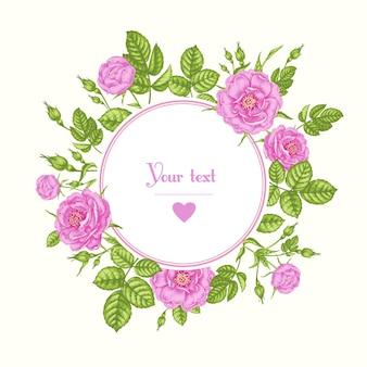 Scheda con l'immagine di fiori e posto per il testo.