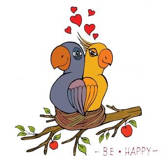 Scheda con pappagalli disegnati a mano nel nido