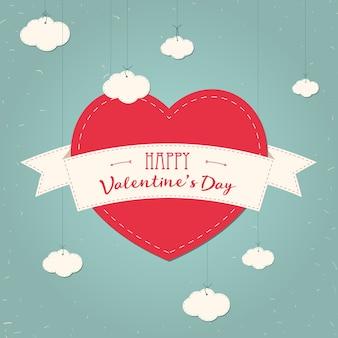 Scheda d'epoca di san valentino con cuori di carta pizzo e posto per il testo. nuvole, nastro, cuore. disegno di poster. stile vintage.