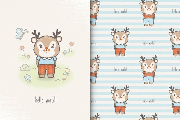 Scheda del bambino piccolo cervo e reticolo senza giunte. illustrazione dei bambini con sfondo carino