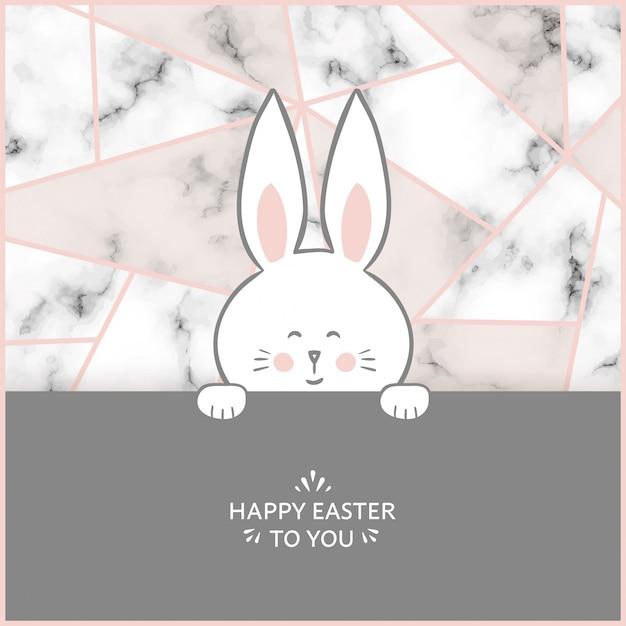 Scheda del coniglietto di pasqua con priorità bassa di marmo