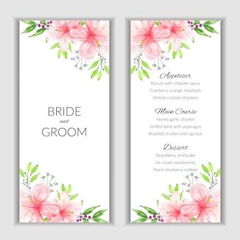 Scheda del menu floreale con decorazione di ibisco rosa dell'acquerello