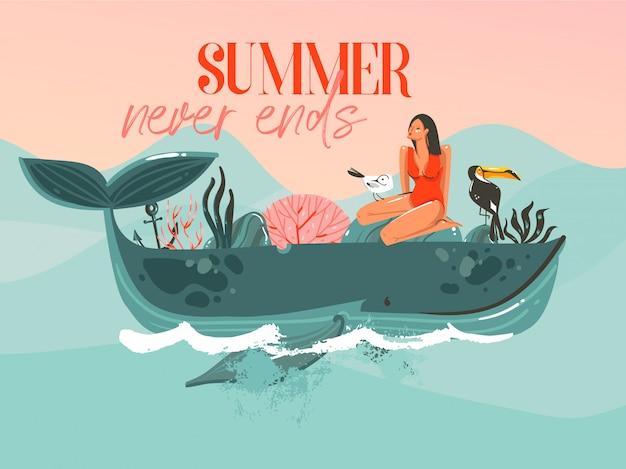 Scheda del modello di illustrazioni grafiche di ora legale del fumetto astratto disegnato a mano con ragazza, balena sulle onde blu e tipografia moderna l'estate non finisce mai su sfondo rosa tramonto
