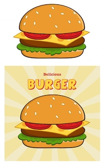 Scheda deliziosa di disegno dell'hamburger con testo