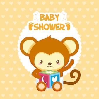 Scheda dell'acquazzone di bambino con asino