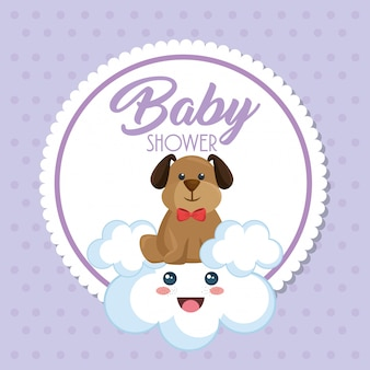 Scheda dell'acquazzone di bambino con cane carino