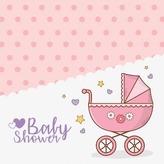 Scheda dell'acquazzone di bambino con carrello rosa