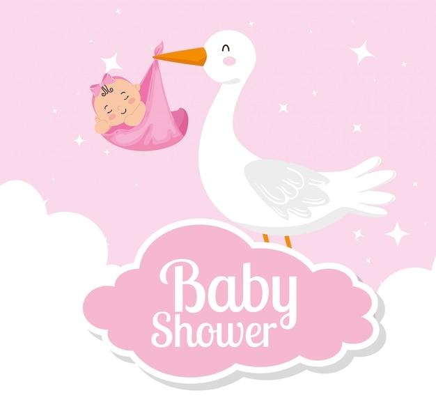 Scheda dell'acquazzone di bambino con cicogna e decorazioni carine