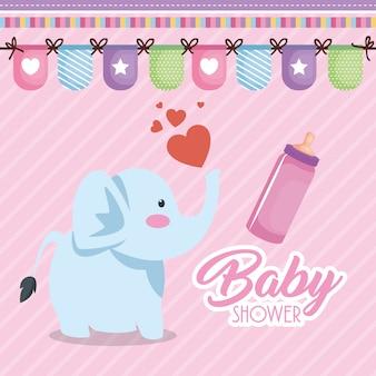 Scheda dell'acquazzone di bambino con elefante carino