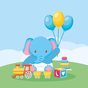 Scheda dell'acquazzone di bambino con elefante