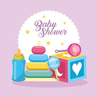 Scheda dell'acquazzone di bambino con i giocattoli