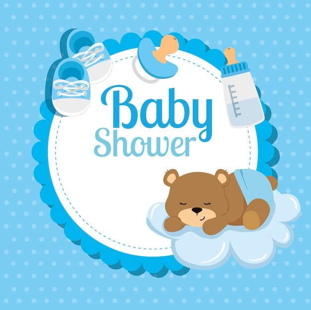 Scheda dell'acquazzone di bambino con l'orso e la decorazione svegli