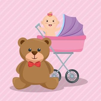 Scheda dell'acquazzone di bambino con la bambina