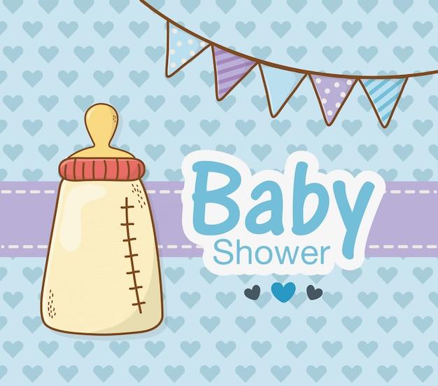 Scheda dell'acquazzone di bambino con la bottiglia per il latte