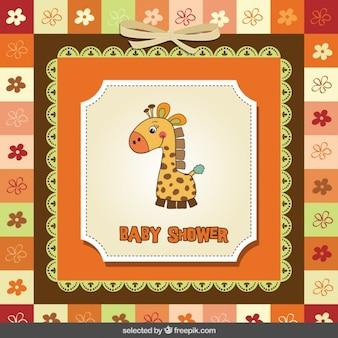 Scheda dell'acquazzone di bambino con la giraffa