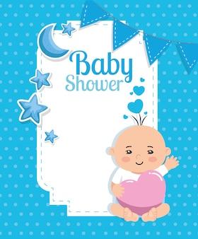 Scheda dell'acquazzone di bambino con neonato e decorazione