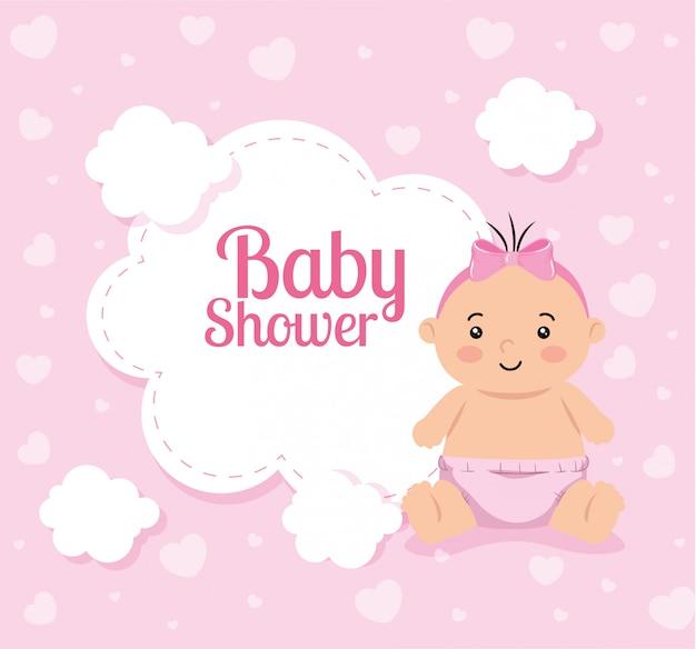 Scheda dell'acquazzone di bambino con ragazza carina e nuvola