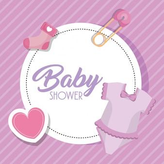 Scheda dell'acquazzone di bambino con set di icone