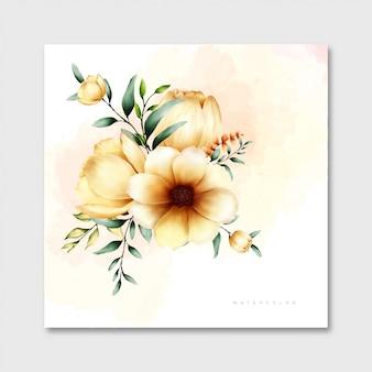 Scheda dell'acquerello di fiori e foglie