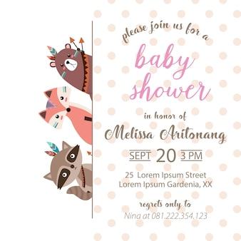 Scheda dell'invito adorabile del bambino doccia