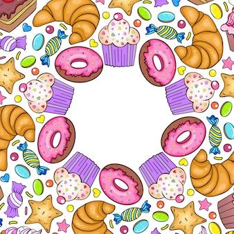 Scheda dell'invito con vari dolci su sfondo bianco.