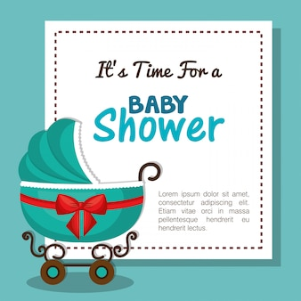Scheda dell'invito dell'acquazzone di bambino con il disegno blu del carrello