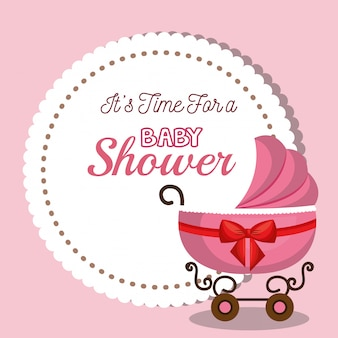 Scheda dell'invito dell'acquazzone di bambino con il disegno di rosa del carrello