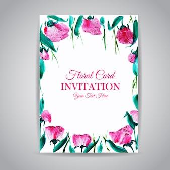 Scheda dell'invito dell'annata floreale dell'acquerello