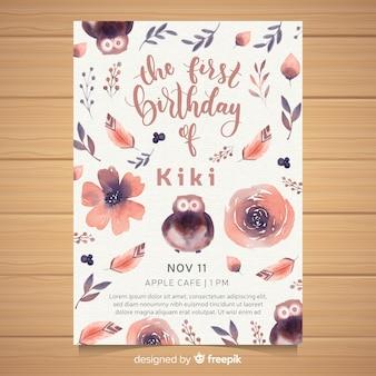 Scheda dell'invito della prima festa di compleanno dell'acquerello