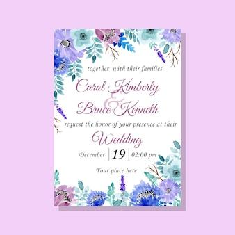 Scheda dell'invito di cerimonia nuziale con acquerello floreale