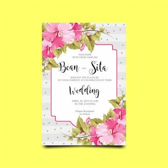 Scheda dell'invito di cerimonia nuziale con fiore di ibisco