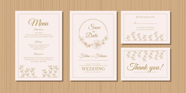 Scheda dell'invito di cerimonia nuziale con il modello di stile di disegno ornamentale floreale e del fiore di schizzo di abbozzo dell'oro