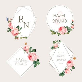 Scheda dell'invito di cerimonia nuziale decorata con il vettore delle rose