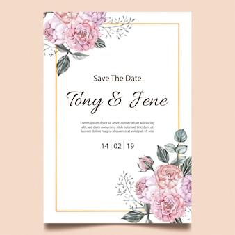 Scheda dell'invito di cerimonia nuziale dell'annata dei fiori della rosa.