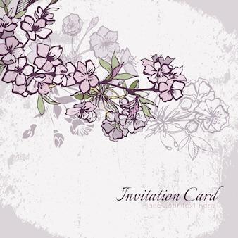 Scheda dell'invito di nozze ciliegio o sakura in fiore