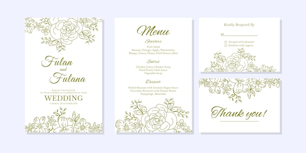 Scheda dell'invito di nozze con doodle schizzo contorno floreale e fiore ornamentale stile modello di progettazione
