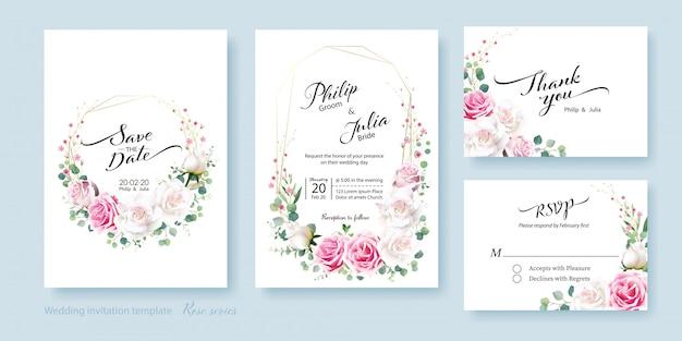 Scheda dell'invito di nozze del fiore della rosa bianca e rosa