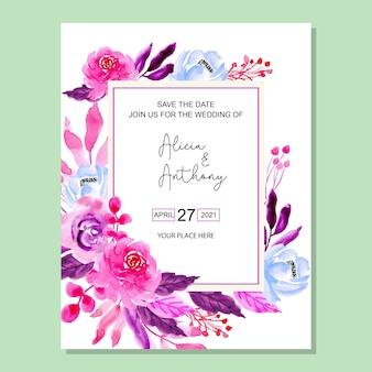 Scheda dell'invito di nozze fiore viola dell'acquerello