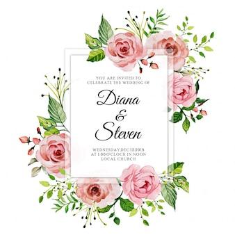 Scheda dell'invito di nozze floreale rosa rosa dell'acquerello