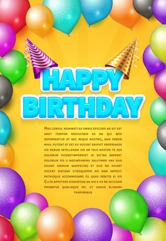 Scheda dell'invito di vettore di buon compleanno o poster con cappelli di partito e palloncini di colore