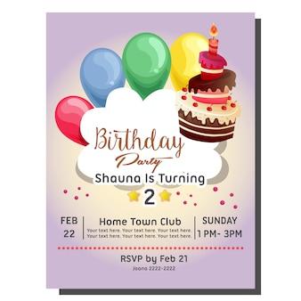 Scheda dell'invito festa 2 ° compleanno con palloncino e palloncino candela